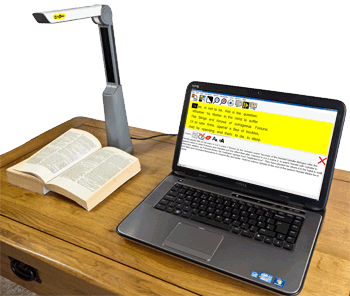Lex and LexCam being shown on a laptop reading and annotating a Shakespeare book in column visualisation.