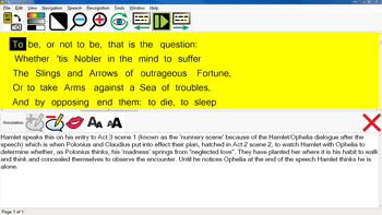 Lex dyslexia software showing a captured Shakespeare book in column visualisation whilst being annotated on.