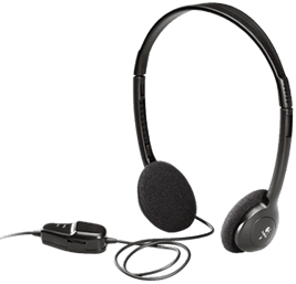 ReadEasy Move's included comfortable over ear headphones with in-line volume control.