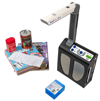 Image showing the versatility of ReadEasy Move with it reading a plaster box, postage receipt, magazine, catalogue, tin of soup and vitamin tablet bottle.