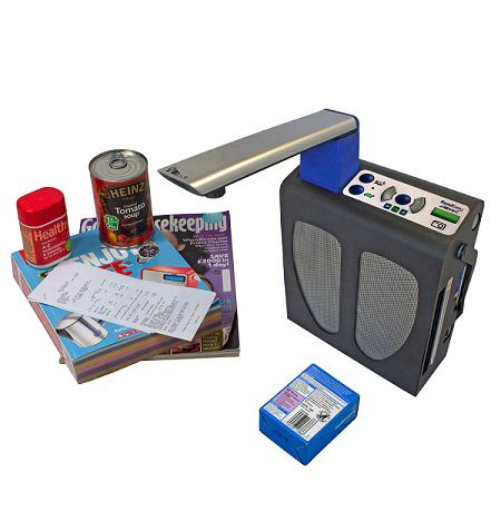 Image showing the versatility of ReadEasy Move 2 with it reading a plaster box, postage receipt, magazine, catalogue, tin of soup and vitamin tablet bottle.