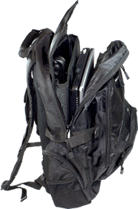 Image showing the padded rucksack that comes with the Readit Scholar, capable of transporting the Readit Scholar, a 15.4 inch laptop, accessories and books.